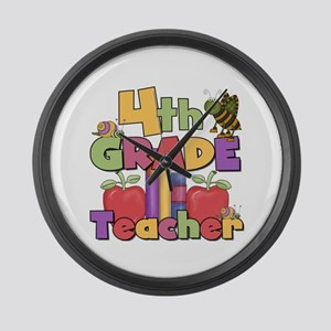 4th Grade Teacher Large Wall Clock